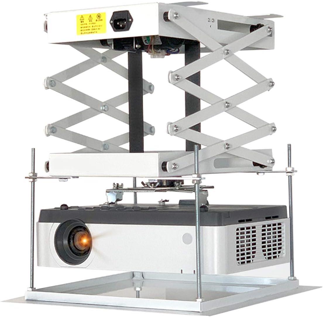 CGOLDENWALL 70CM Electric projector Lift Scissors Ceiling Mount Projector Hanger Projector Mount Remote Control For Cinema Church Hall School Double motors Max load 20kg