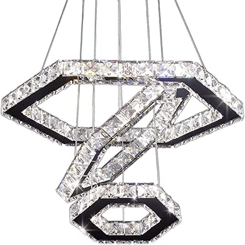 Cainjiazh Crystal Chandeliers 3 Ring Led Modern Ceiling Lighting Fixture Adjustable Stainless Steel Hanging Pendant Light