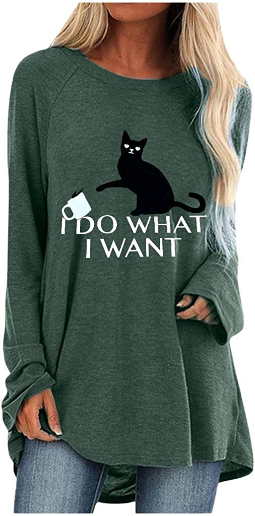 Plus Size Womens Pullover Tunic Tops Letter Printed Long Sleeve T-Shirt Blouses Tops S-5XL