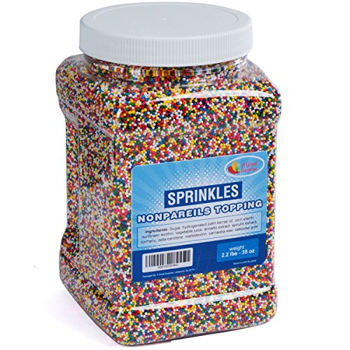 Nonpareils Sprinkles Bulk - Rainbow Non Pareil Sprinkles in Resealable Container, 2.2 LB Bulk Candy (Easy To Make Halloween Sugar Cookies)