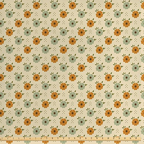 Ambesonne Floral Fabric by The Yard, Old Fashioned Flower Corsage Poppy Petals Spring Blossoms Pattern, Decorative Fabric for Upholstery and Home Accents, Beige Amber Pale Sage Green