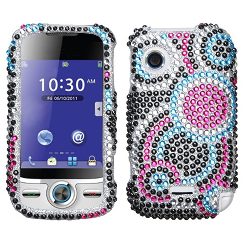 Sparkling Black Blue Hot Pink Multi Circle Dot Full Diamond Rhinestone Snap on Hard Skin Cover Case for Huawei M735