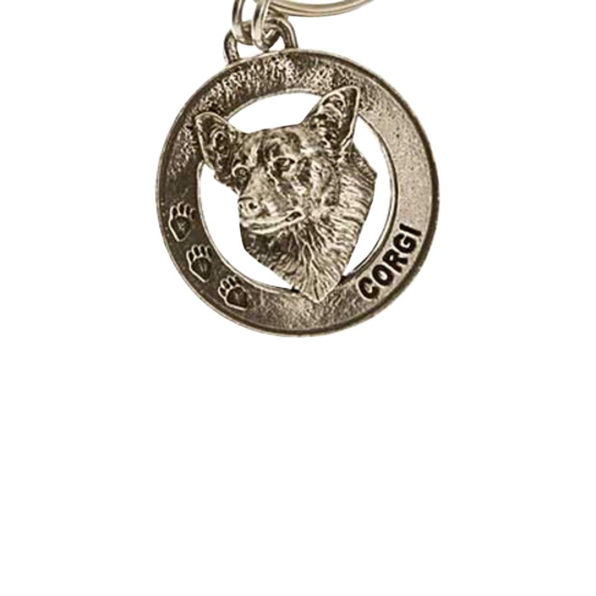 Creative Pewter Designs, Pewter Corgi Key Chain, Antiqued Finish, DK062