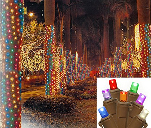 Multicolored Net (Vickerman Multicolored LED Net Style Tree Trunk Wrap Christmas Lights with Brown Wire, 2' x 8')