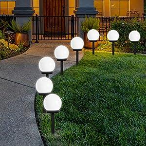 FLOWood LED Solar Garden Light, Solar Globe Lights Outdoor Globe Stake Light Garden Path Lighting for Garden Cold White 8 Pack