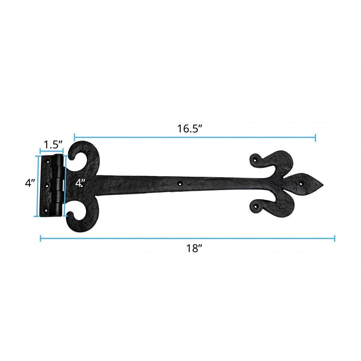 2 Door Hinge Black Wrought Iron Strap 18