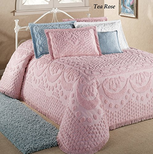 Belle Maison(R)/Bed Kingston Pastel Tufted Chenille Bedspread (Tea Rose Bedspread)