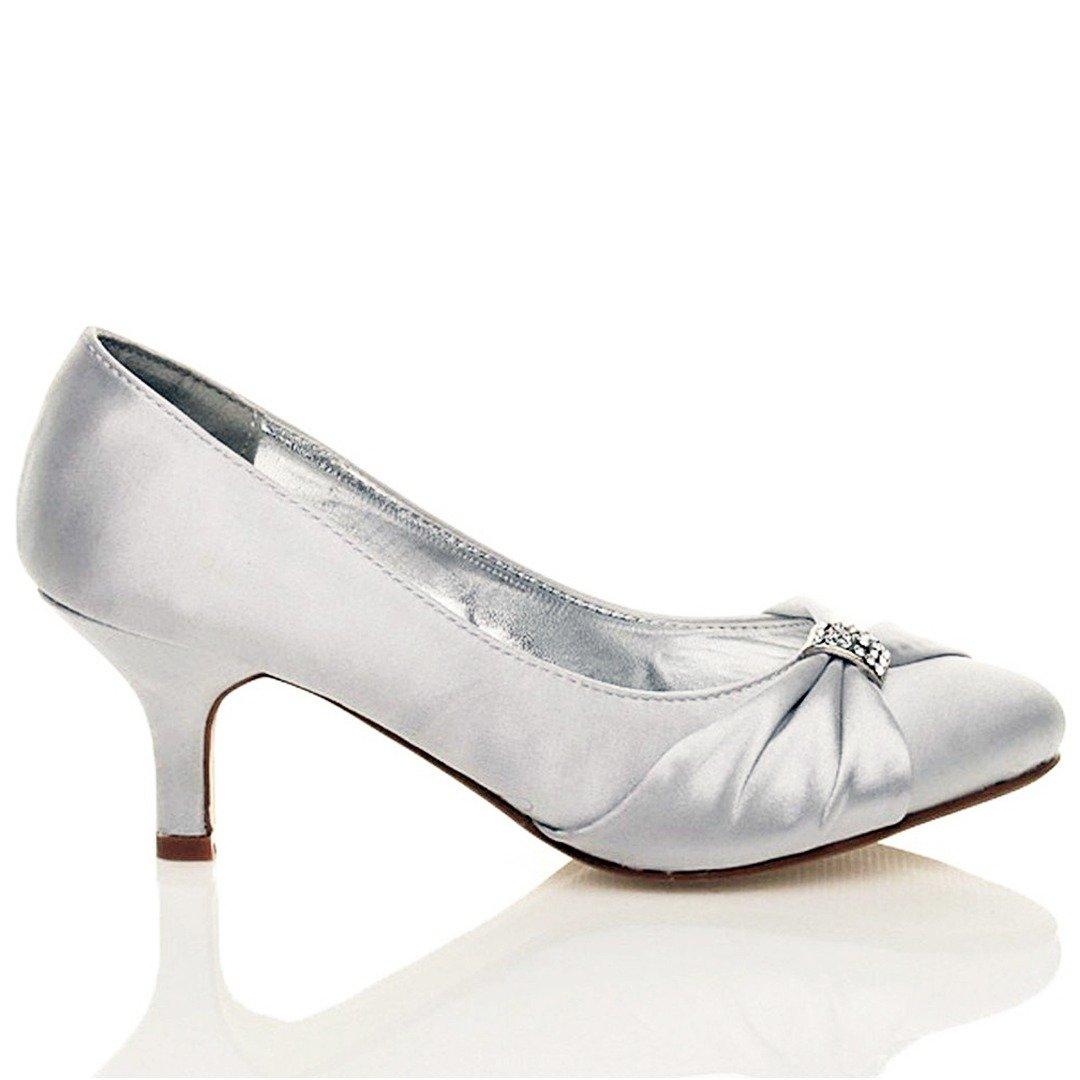 New Womens Diamante Low Mid Kitten Heels Court Shoes Ladies Bridal Wedding Prom