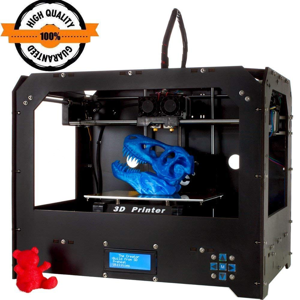 Perfectink FDM 3D Printers Kit Updated Sturdy Frame Dual Extruder MK8 Nozzle 3D Printer Kit with Extra Large Printing Size (225×145×150mm) and Free ...