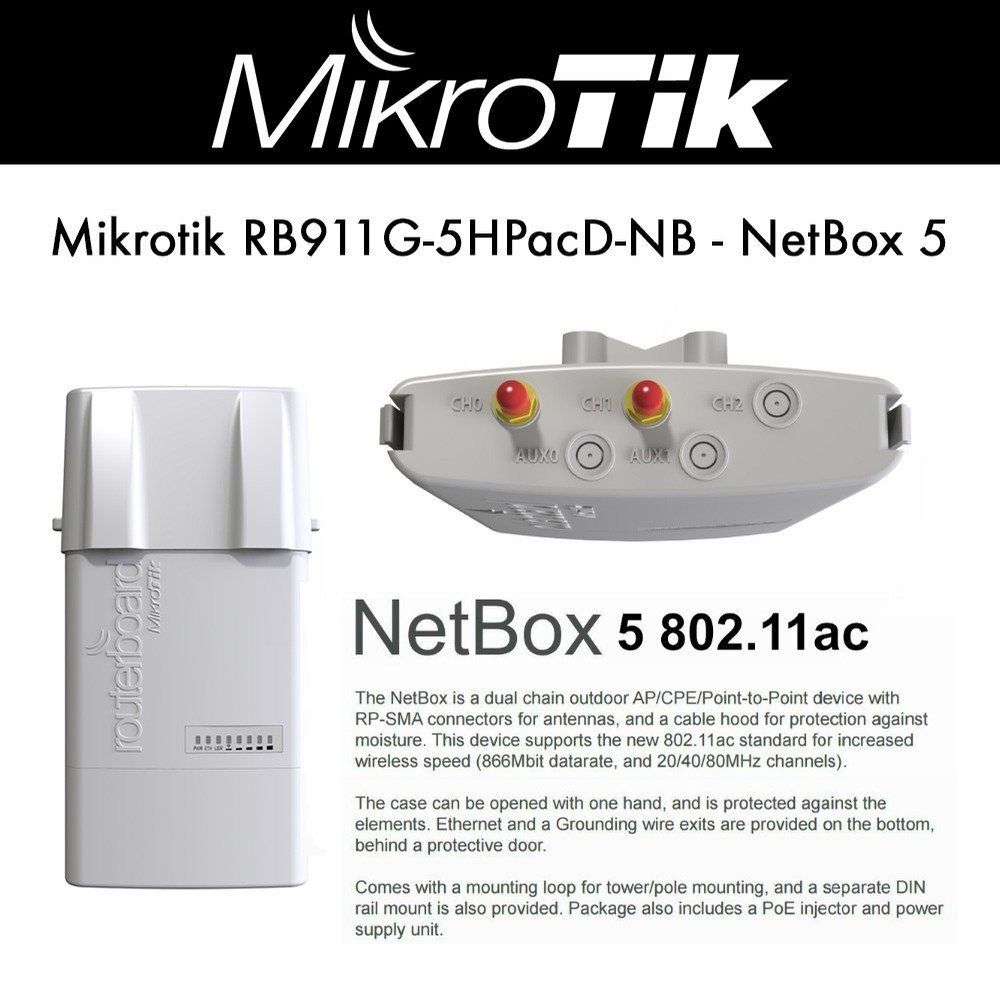 Mikrotik RB911G-5HPacD-NB NetBox-5 Wireless System by MikroTik