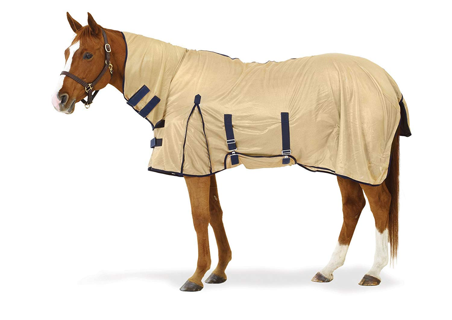 Equiessentials Softmesh Combo Fly Sheet with Belly Band and Attached Neck Cover, Tan/Navy,  78