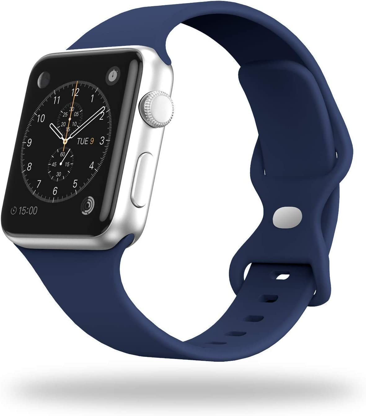 STG Smart Watch Band Compatible with Apple Watch Band 38mm 40mm 42mm 44mm, Soft Silicone Replacement Sport Strap Compatible for iWatch SE Series 6/5/4/3/2/1 (38/40mm, Midnight Blue)