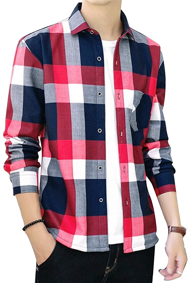 Jofemuho Mens Long Sleeve Plaid Print Thicken Slim with Velvet Casual Button Down Dress Work Shirt