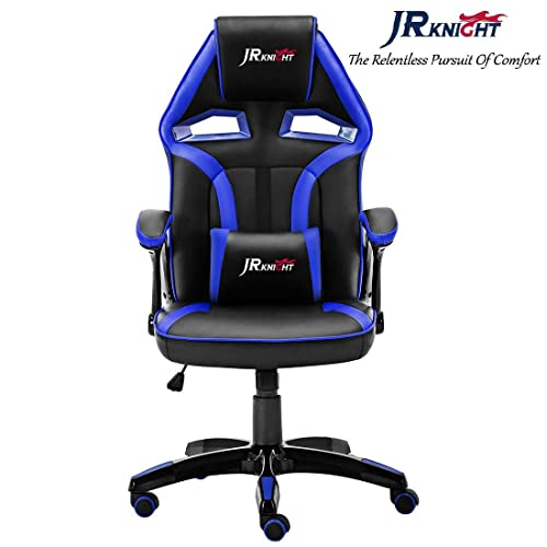 JR Knight Racing Chair, Renovation Alien Design Home Office Computer Gaming Exclusive Swivel Leather Chair (Black&Blue)