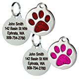 Paw Print Round Stainless Steel Pet ID Tag - Dog