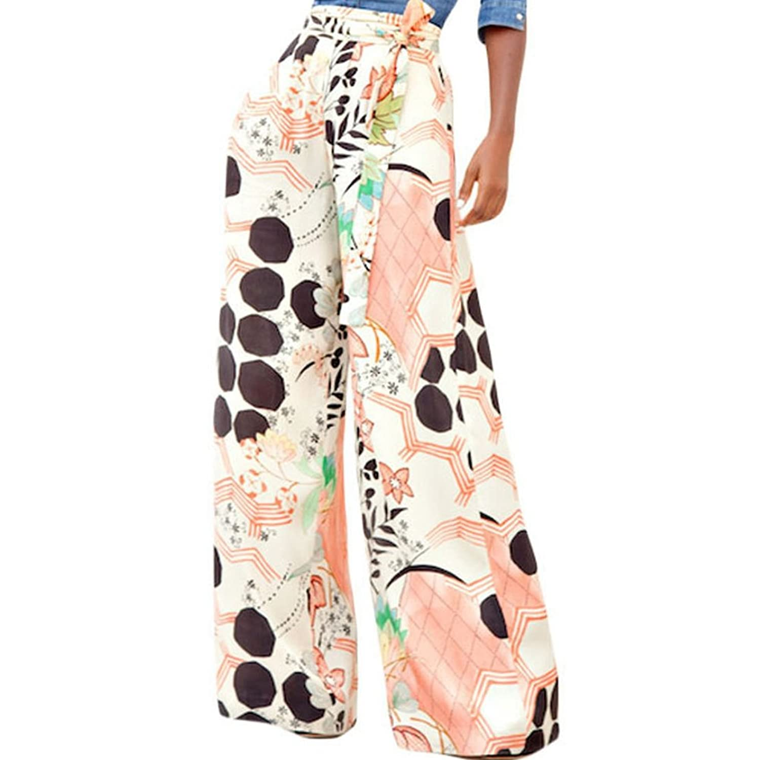 What Did Women Wear in the 1930s? LOSRLY Women Floral Print High Waist Belt Palazzo Wide Leg Boho Pants Plus Size $20.99 AT vintagedancer.com