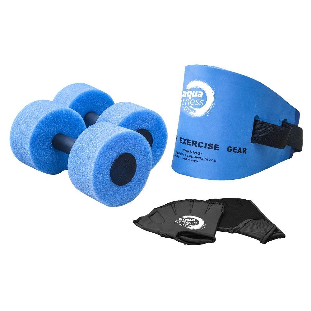 Aqua 6 Piece Fitness Set, Water Aerobics, Aquatic Low Impact Workout, Flotation Belt, Resistance Gloves, Barbells by AQUA