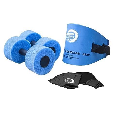 5ede675d8de Amazon.com: Aqua 6 Piece Fitness Set, Water Aerobics, Aquatic Low Impact  Workout, Flotation Belt, Resistance Gloves, Barbells: Toys & Games