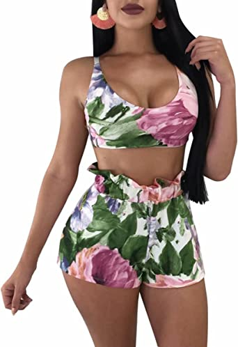 KLJR Women Short Sleeve Two Piece Crop Top and Bodycon Shorts Off Shoulder Floral Print Club Outfits Tracksuits