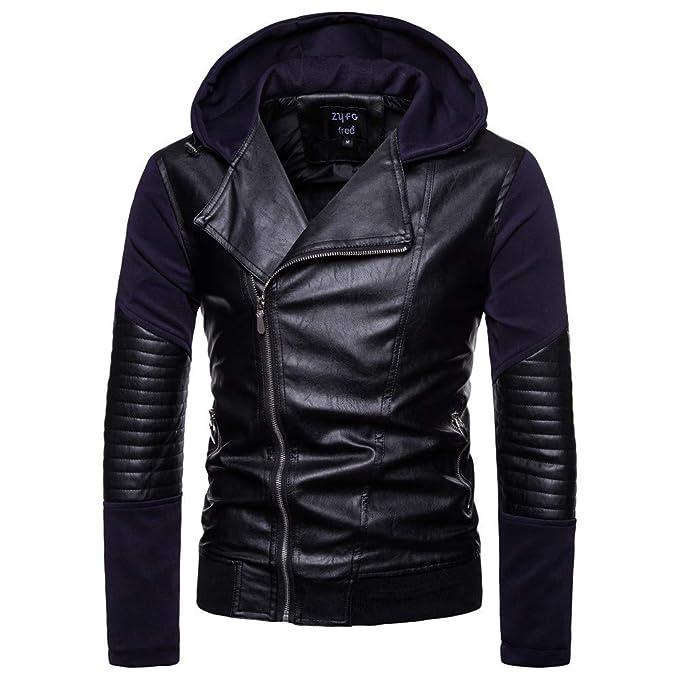 Los Hombres doblan la Chaqueta del otoño y del Invierno del Cuero del Motorista de la Motocicleta de la Cremallera Outwear Warm Coat de Internet: Amazon.es: ...