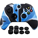 Pandaren Silicone rubber cover skin case anti-slip Customize for Xbox One/S/X controller x 1 Camouflage Blue + FPS PRO extra height thumb grips x 8