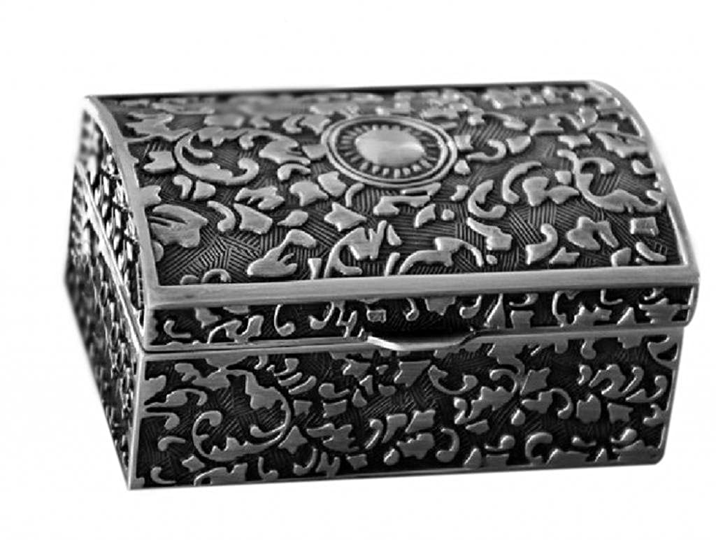 Infinite U Classical European Style Titan Apollo Mysterious Rose Engraving Metal Trinket Jewellery Box Antique Silver for Women/Girls Infinite Jewellery b01005-Large-box