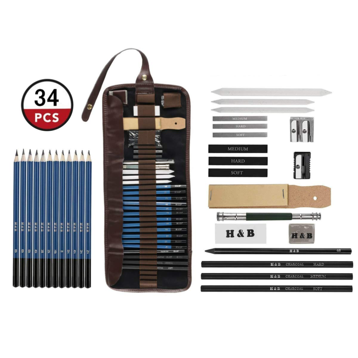 Amazon com lugoo 34 pcs sketch drawing pencil set professional portable charcoal painting kit with art supplies for artists hobbyists kids adults