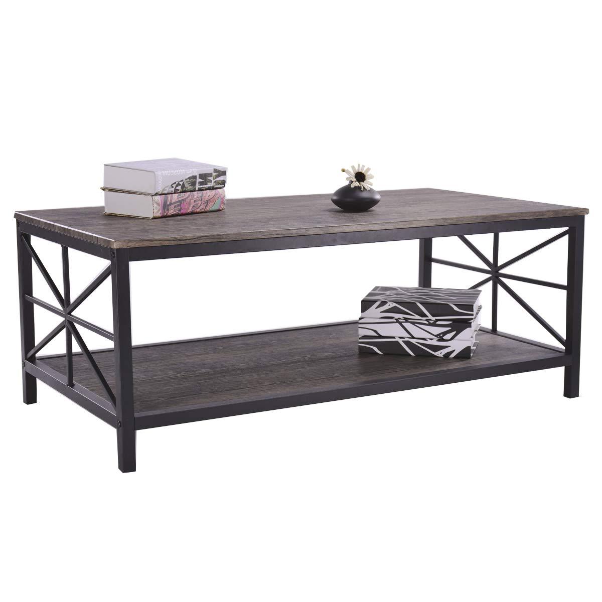 Aingoo Tavolino da caffè Industriale di con la Tabella di Cocktail Nera della Struttura del Metallo con la mobilia del Salone della scaffalatura Marrone
