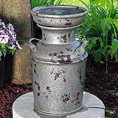 Sunnydaze Farmhouse Milk Can Birdbath Water Fountain with LED Lights, Outdoor Vintage Garden and Patio Feature, 20 Inch Tall - COMPACT RUSTIC COTTAGE STYLE: Backyard fountain measures 12 inches wide x 11 inches deep x 20.25 inches tall; Weighs 11.6 pounds; Recommended water capacity of 0.5 gallons; Length of power cord is 76 inches long DURABLE, YET LIGHTWEIGHT: Freestanding fountain of polystone that retains realistic paint finish; Light enough to be placed in your desired location with ease EASY ASSEMBLY: Garden feature comes with LED light and electric submersible pump with 0.5-inch hose diameter; No plumbing is required for assembly; Pump should not run dry - patio, fountains, outdoor-decor - 61wFuN1cwOL. SS400  -