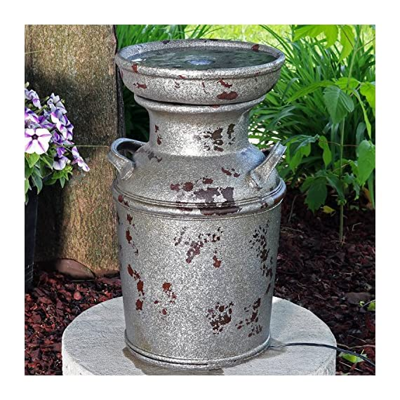 Sunnydaze Farmhouse Milk Can Birdbath Water Fountain with LED Lights, Outdoor Vintage Garden and Patio Feature, 20 Inch Tall - COMPACT RUSTIC COTTAGE STYLE: Backyard fountain measures 12 inches wide x 11 inches deep x 20.25 inches tall; Weighs 11.6 pounds; Recommended water capacity of 0.5 gallons; Length of power cord is 76 inches long DURABLE, YET LIGHTWEIGHT: Freestanding fountain of polystone that retains realistic paint finish; Light enough to be placed in your desired location with ease EASY ASSEMBLY: Garden feature comes with LED light and electric submersible pump with 0.5-inch hose diameter; No plumbing is required for assembly; Pump should not run dry - patio, outdoor-decor, fountains - 61wFuN1cwOL. SS570  -