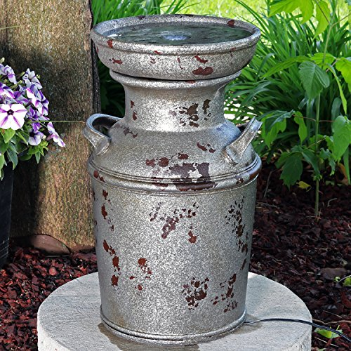 Milk Can Birdbath Water Fountain with LED Lights, Outdoor Vintage Garden and Patio Feature, 20 Inch Tall ()