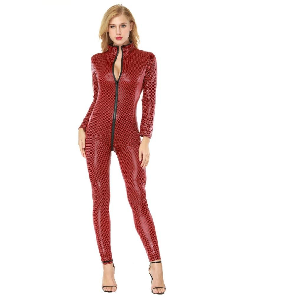 CSSD Women Seductive Lingerie Artificial Leather Open Crotch Bodysuit Siamese