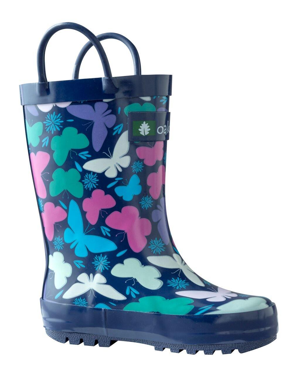 Oakiwear Kids Rubber Rain Boots with Easy-On Handles, Butterflies, 6T US Toddler