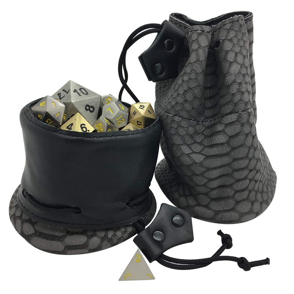 Leather Dice Bag - Grey and Black - Handmade in The USA - Norse Foundry