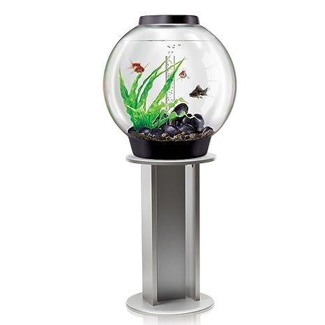 biOrb Classic 60L negro con diseño de acuario para iluminación LED y soporte de plata
