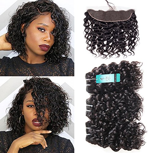 Water Wave Bundles with Frontal, UDU 10A Malaysian Human Hair Bundles with Frontal Closure Wet & Wavy Ocean Weave Human Hair Extensions Natural Wave Curly Hair 50g/pc (Best Hair Products For Wet And Wavy Weave)