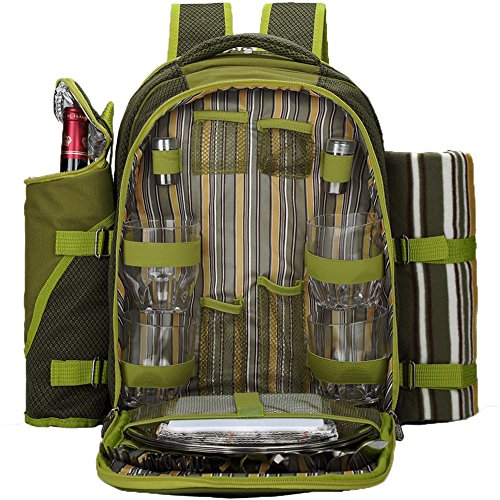APOLLO WALKER Picnic Backpack for 4 with Cutlery Set and Blanket for Picnic, Outdoor, Hiking, Camping, BBQs, Cooler (Apollo Bar)