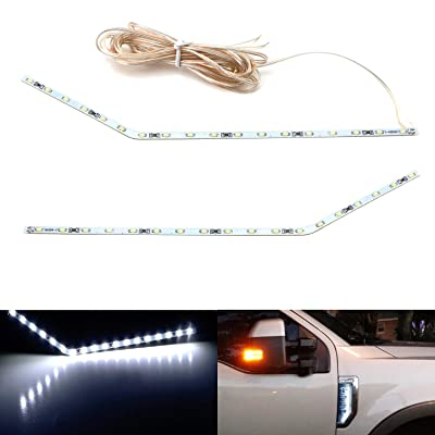iJDMTOY Xenon White LED Background Illumination Kit Compatible With 2020-2020 Ford F250 F350 F450 Super Duty Side Fender Chrome Emblem: Automotive