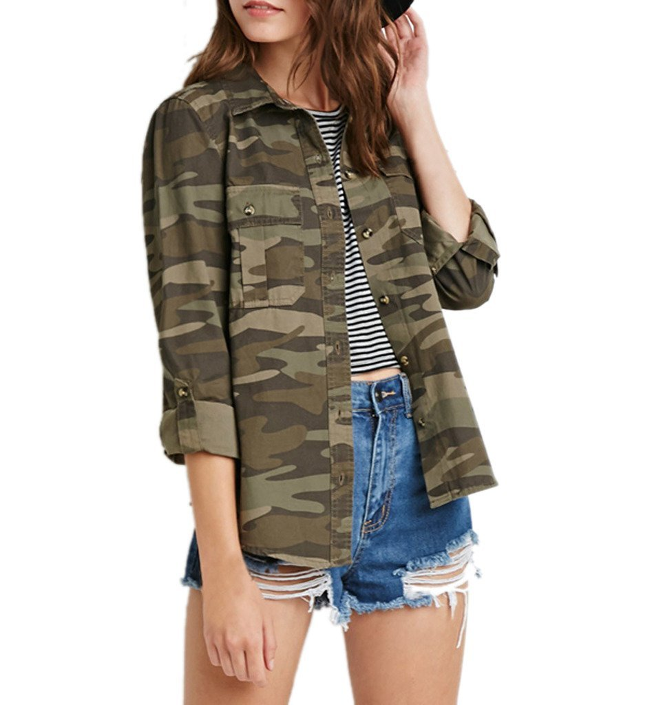 Archie Vince Women's LightWeight Military Casual Camouflage Button Shirt Jacket