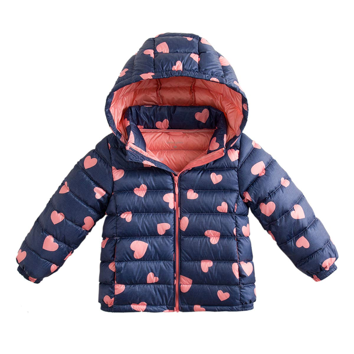 marc janie Little Boys Girls' Winter Pattern Printing Ultra Light Weight Down Jacket Blue Pink Love 3T (90 cm) by marc janie (Image #1)