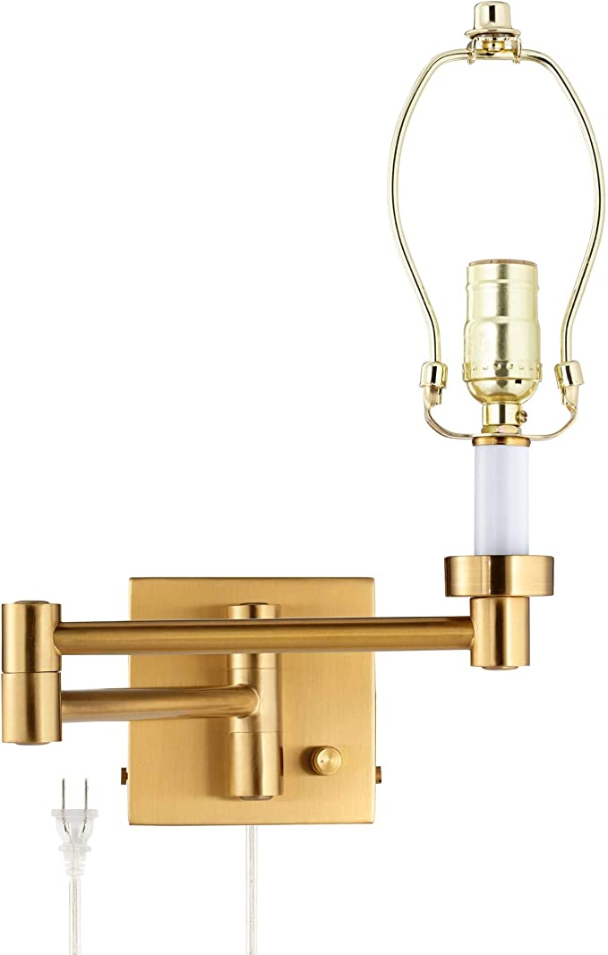 Antiqued Brass Funnel Wallmount E27 Light Wall Lamp Swing Arm Factory Sconce