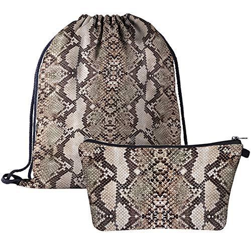BABALI Drawstring Backpack 3D Print Backpack Travel Gym Bags (Snake Skin)