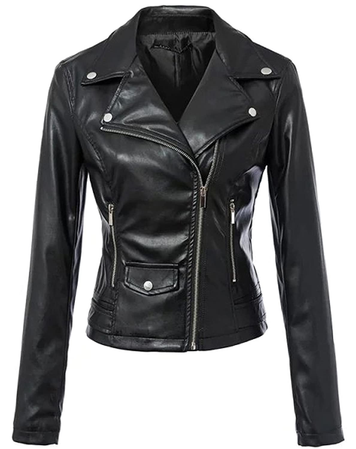 Women's Faux Leather Moto Biker Jacket