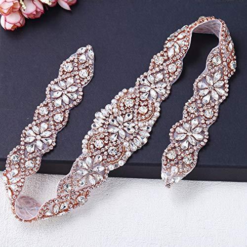 - Pearls Embellishments for Dresses, FANGZHIDI Bling Rose Gold Rhinestone Applique for DIY on Wedding Belt Sash, Bridal Veil,Wedding Cake Decoration