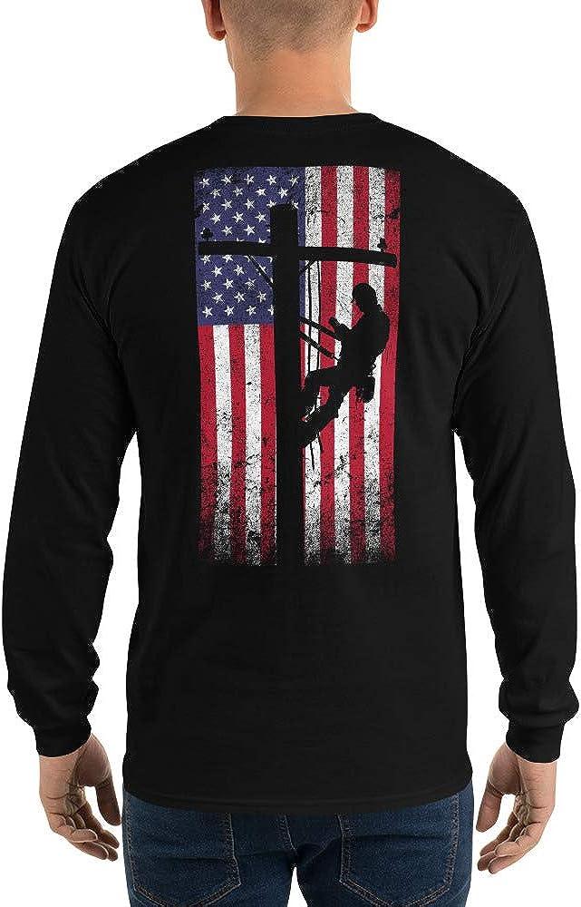 JFWcreations Long Sleeve Lineman Shirt for Men - American Flag Lineman T-Shirt - Lineman Gift for Lineman
