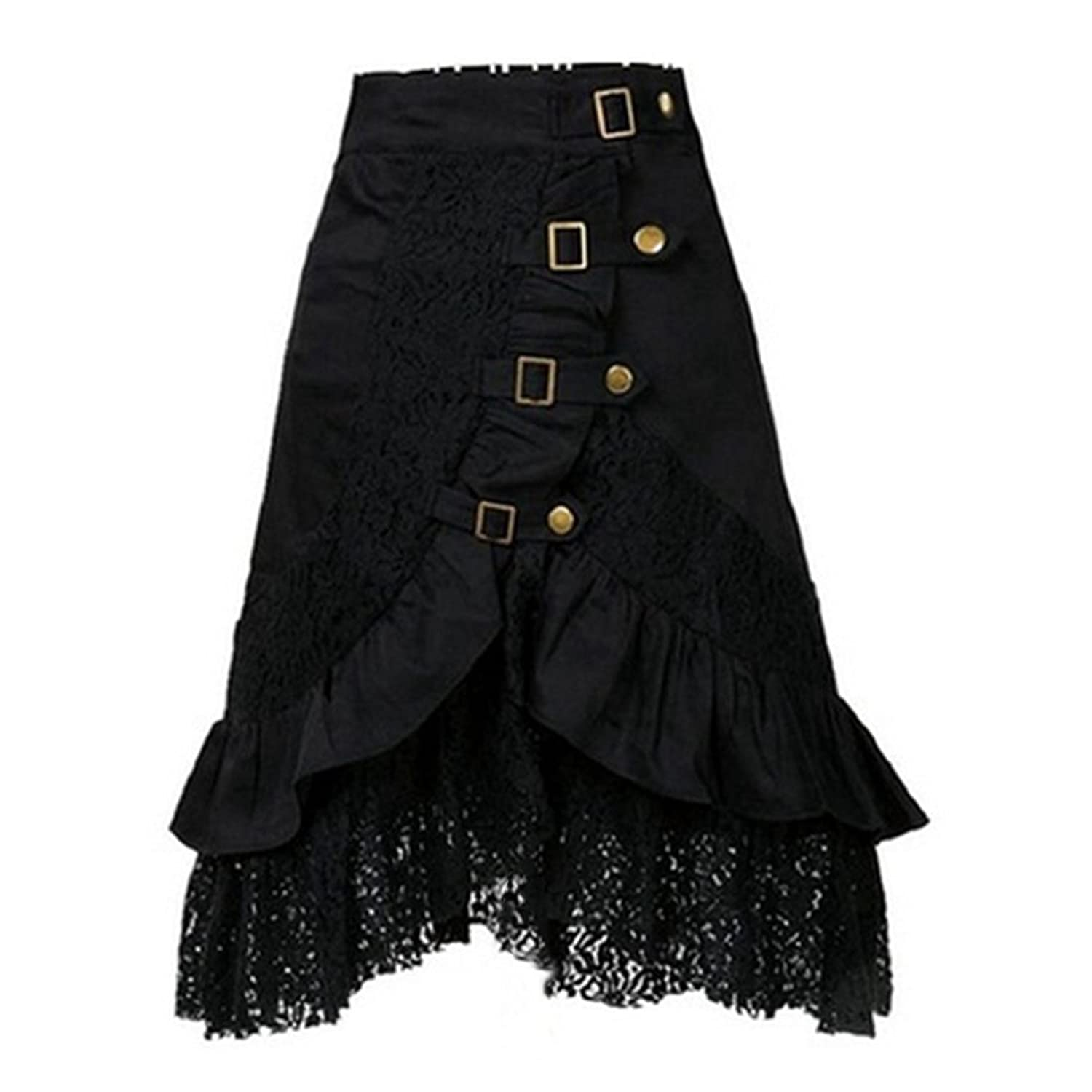 Hinmay Women's Vintage Steampunk Gothic Clothing Cotton Black Lace Party Skirt