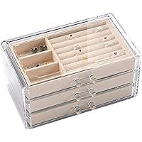 BO123 Organizador de Joyas de Terciopelo para Pendientes, Pulseras, Collares y Anillos, Caja de Almacenamiento y joyero pequeño