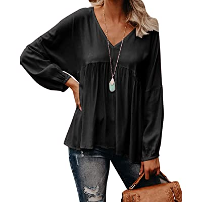 Style Dome Lace Tops V Neck Long Sleeve Button Down T Shirt Casual Tunic Blouse at Women's Clothing store