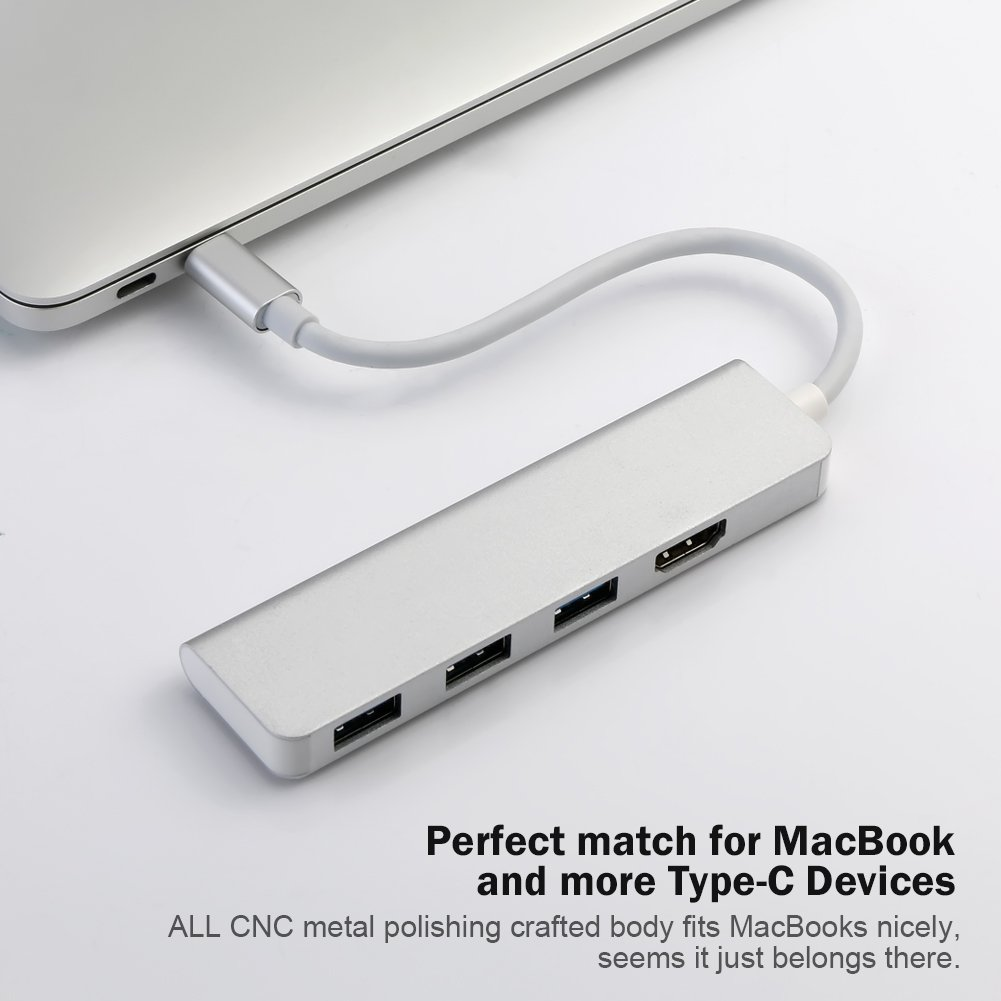 USB-C Hub, Type-C Adapter To HDMI,3 USB 3.0, Portable Aluminum USB C Dongle For MacBook Pro 2018/2017/2016 Chromebook Pixel, DELL XPS13 (Silver)