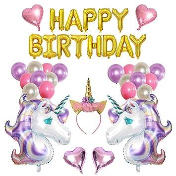 Amycute 38 PCS Globos Unicornio Cumpleaños, Decoración de ...